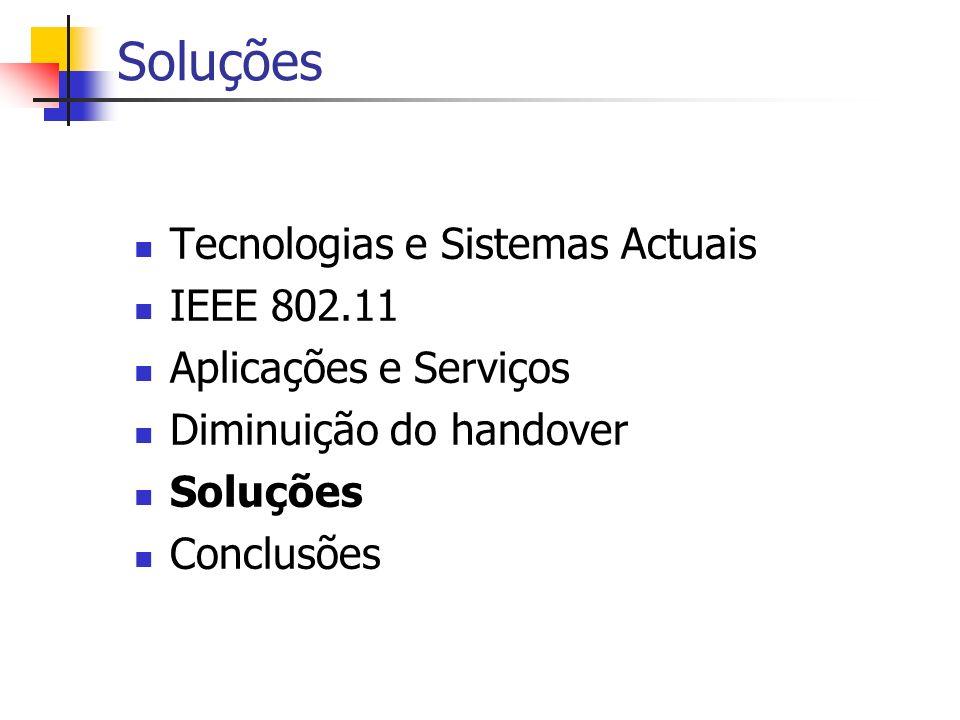 Soluções Tecnologias e Sistemas Actuais IEEE 802.11 Aplicações e Serviços Diminuição do handover Soluções Conclusões