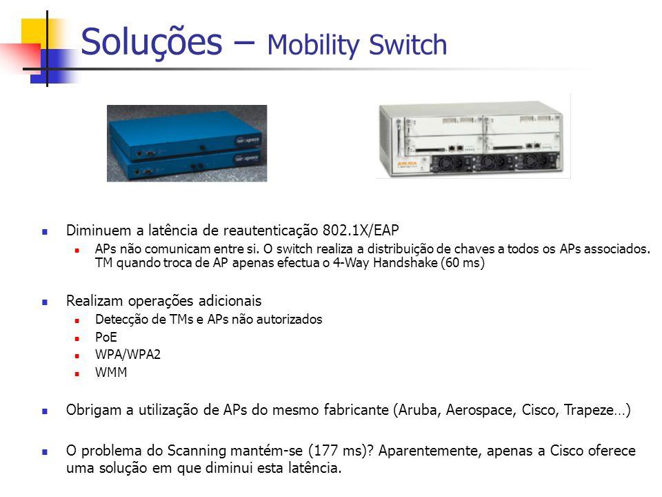 Soluções – Mobility Switch Diminuem a latência de reautenticação 802.1X/EAP APs não comunicam entre si. O switch realiza a distribuição de chaves a to