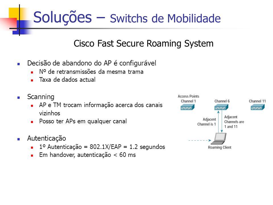 Soluções – Switchs de Mobilidade Cisco Fast Secure Roaming System Decisão de abandono do AP é configurável Nº de retransmissões da mesma trama Taxa de dados actual Scanning AP e TM trocam informação acerca dos canais vizinhos Posso ter APs em qualquer canal Autenticação 1º Autenticação = 802.1X/EAP = 1.2 segundos Em handover, autenticação < 60 ms
