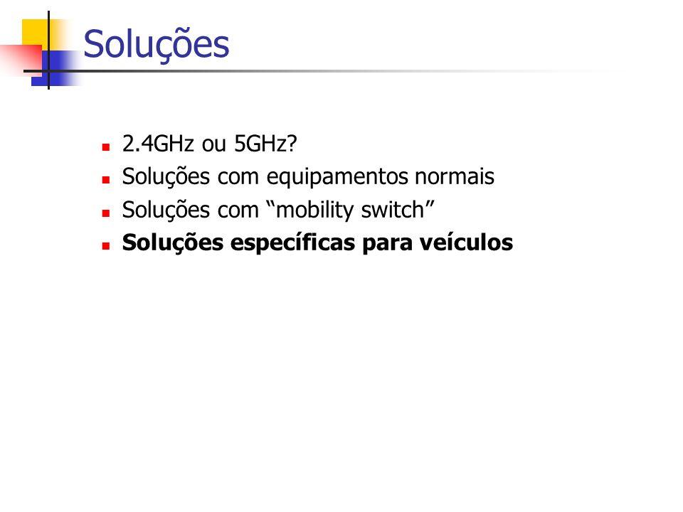 Soluções 2.4GHz ou 5GHz? Soluções com equipamentos normais Soluções com mobility switch Soluções específicas para veículos
