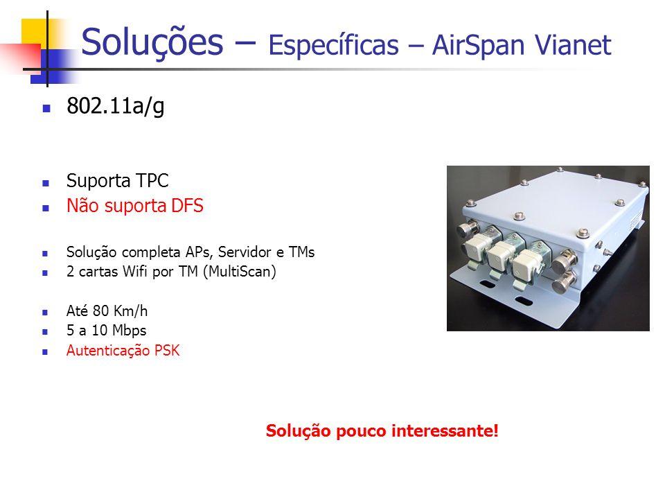 Soluções – Específicas – AirSpan Vianet 802.11a/g Suporta TPC Não suporta DFS Solução completa APs, Servidor e TMs 2 cartas Wifi por TM (MultiScan) Até 80 Km/h 5 a 10 Mbps Autenticação PSK Solução pouco interessante!