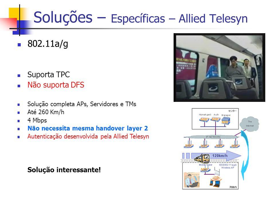 Soluções – Específicas – Allied Telesyn 802.11a/g Suporta TPC Não suporta DFS Solução completa APs, Servidores e TMs Até 260 Km/h 4 Mbps Não necessita mesma handover layer 2 Autenticação desenvolvida pela Allied Telesyn Solução interessante!