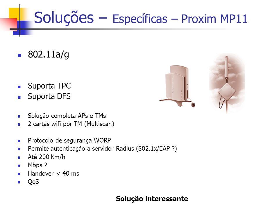 Soluções – Específicas – Proxim MP11 802.11a/g Suporta TPC Suporta DFS Solução completa APs e TMs 2 cartas wifi por TM (Multiscan) Protocolo de segurança WORP Permite autenticação a servidor Radius (802.1x/EAP ) Até 200 Km/h Mbps .