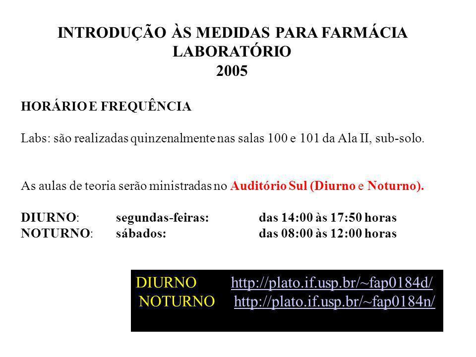 INTRODUÇÃO ÀS MEDIDAS PARA FARMÁCIA LABORATÓRIO 2005 HORÁRIO E FREQUÊNCIA Labs: são realizadas quinzenalmente nas salas 100 e 101 da Ala II, sub-solo.