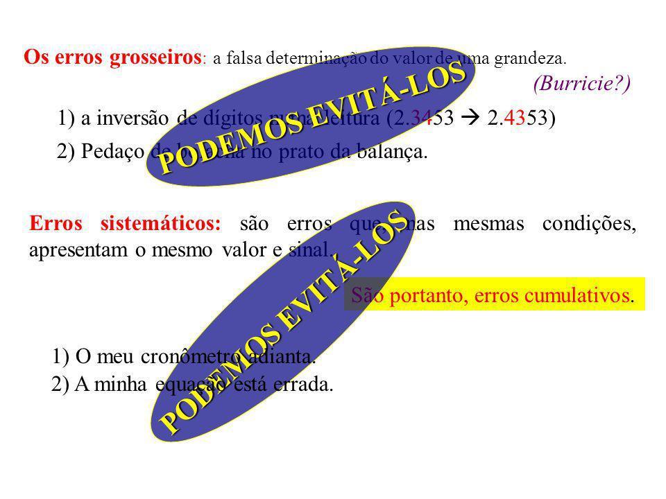 Os erros grosseiros : a falsa determinação do valor de uma grandeza.