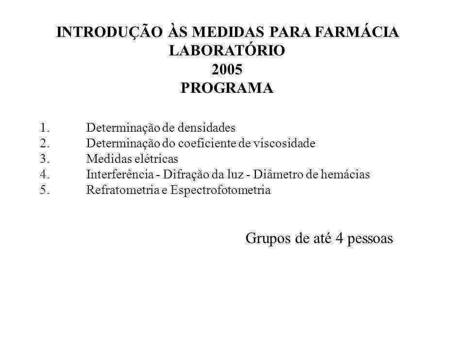 1.Determinação de densidades 2.Determinação do coeficiente de viscosidade 3.Medidas elétricas 4.Interferência - Difração da luz - Diâmetro de hemácias 5.Refratometria e Espectrofotometria INTRODUÇÃO ÀS MEDIDAS PARA FARMÁCIA LABORATÓRIO 2005 PROGRAMA Grupos de até 4 pessoas