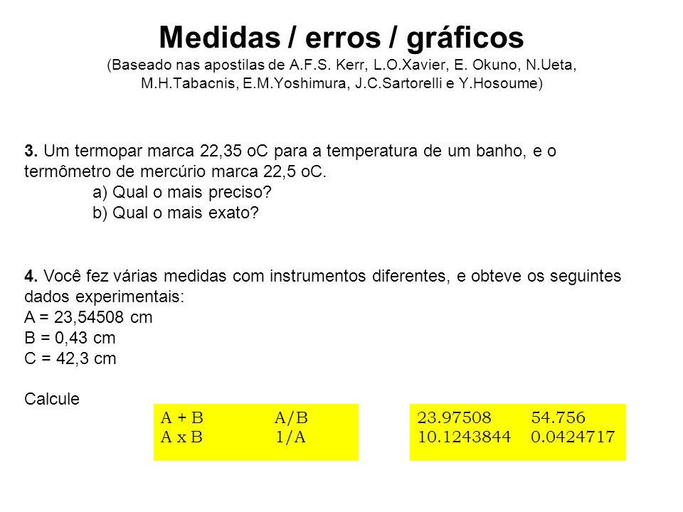 A = 23,54508 cm B = 0,43 cm C = 42,3 cm A + B A x B A/B 1/A 23.97508 10.1243844 54.756 0.0424717 Vamos supor erro B = 0.03 Onde vamos cortar os algarismos ??.