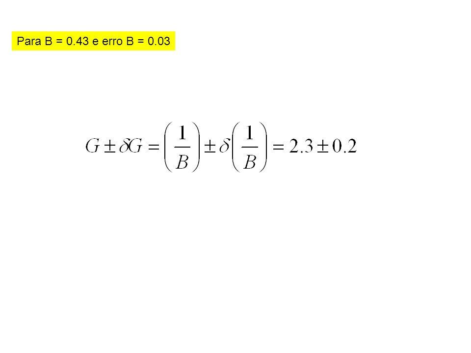 Para B = 0.43 e erro B = 0.03