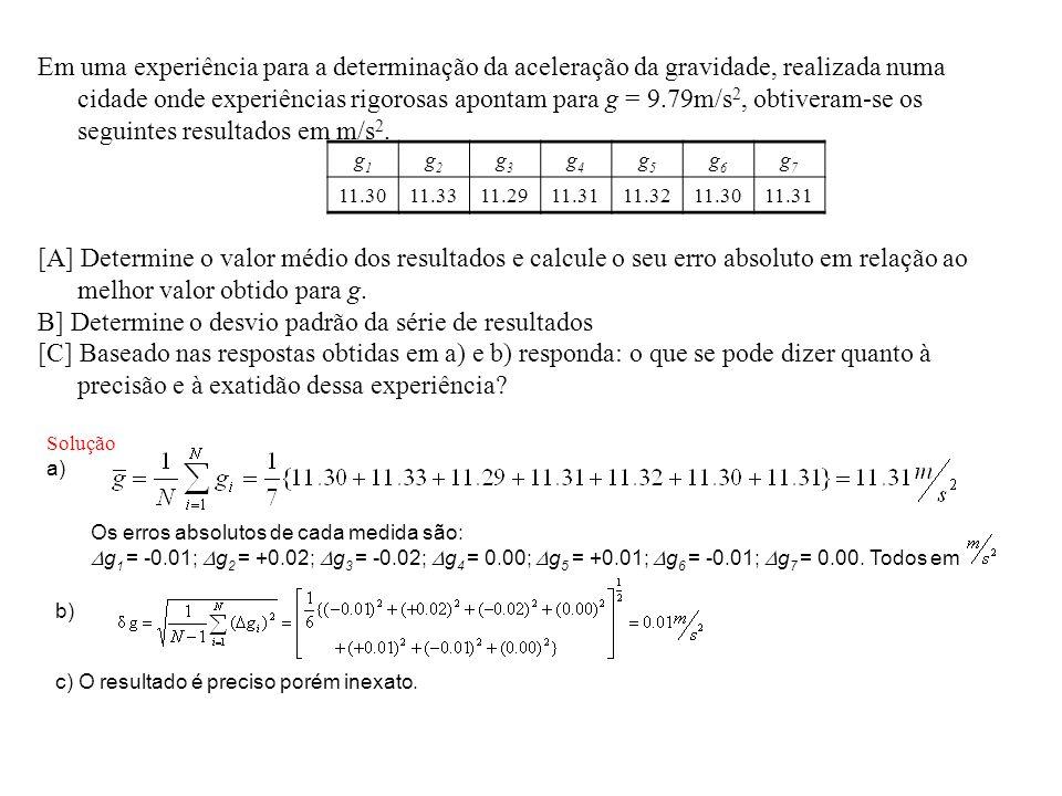 Em uma experiência para a determinação da aceleração da gravidade, realizada numa cidade onde experiências rigorosas apontam para g = 9.79m/s 2, obtiv