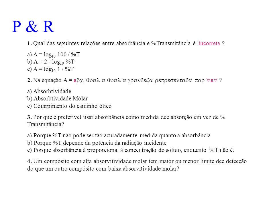 P & R 1. Qual das seguintes relações entre absorbância e %Transmitância é incorreta ? a) A = log 10 100 / %T b) A = 2 - log 10 %T c) A = log 10 1 / %T