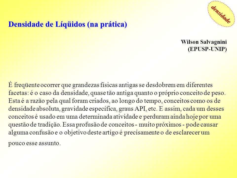 Densidade de Líqüidos (na prática) Wilson Salvagnini (EPUSP-UNIP) É freqüente ocorrer que grandezas físicas antigas se desdobrem em diferentes facetas
