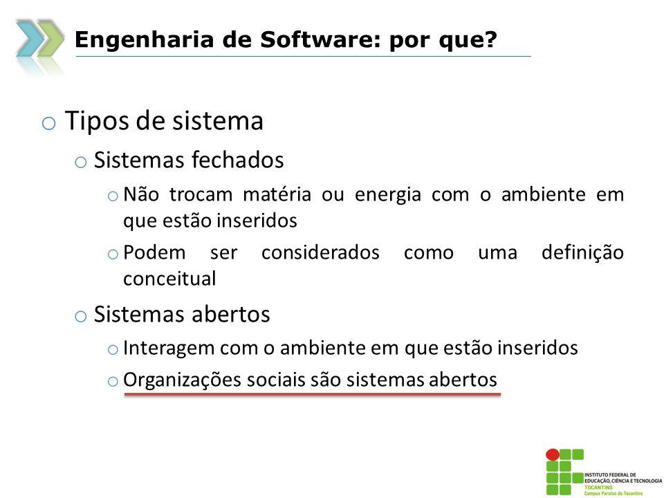 Engenharia de Software: por que? o Tipos de sistema o Sistemas fechados o Não trocam matéria ou energia com o ambiente em que estão inseridos o Podem