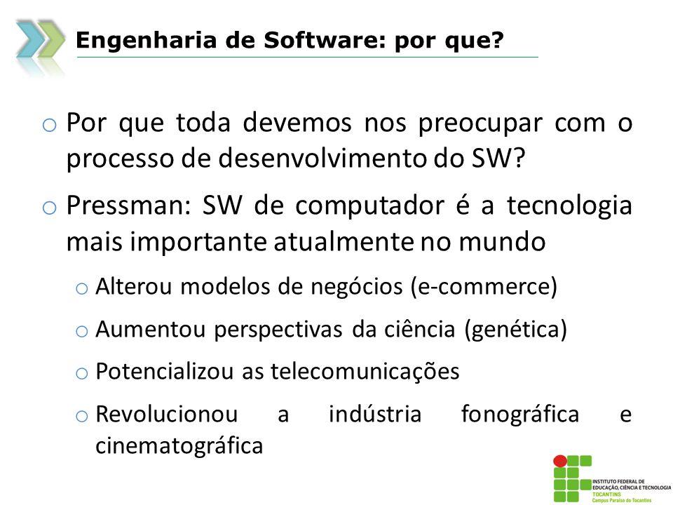 Engenharia de Software: por que? o Por que toda devemos nos preocupar com o processo de desenvolvimento do SW? o Pressman: SW de computador é a tecnol