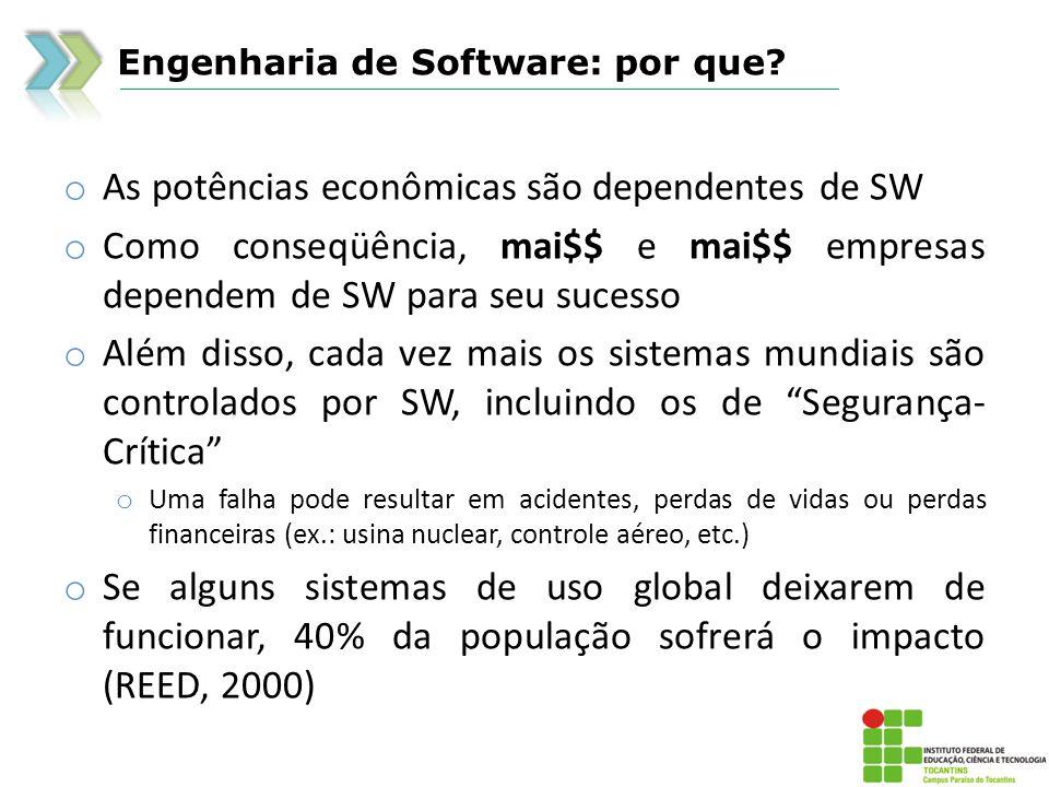 Engenharia de Software: por que? o As potências econômicas são dependentes de SW o Como conseqüência, mai$$ e mai$$ empresas dependem de SW para seu s