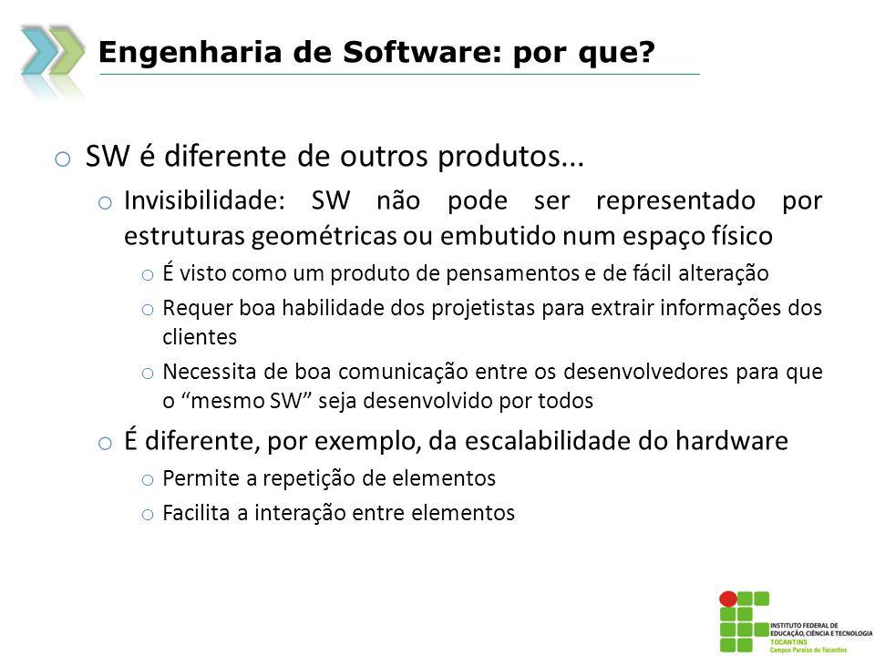 Engenharia de Software: por que? o SW é diferente de outros produtos... o Invisibilidade: SW não pode ser representado por estruturas geométricas ou e