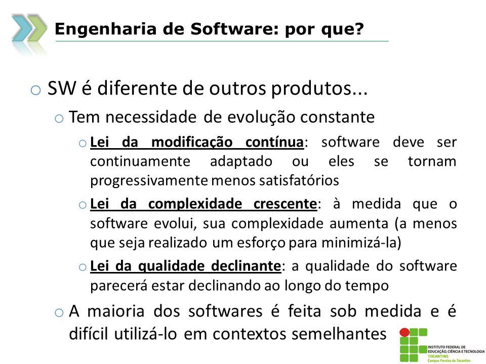 Engenharia de Software: por que? o SW é diferente de outros produtos... o Tem necessidade de evolução constante o Lei da modificação contínua: softwar