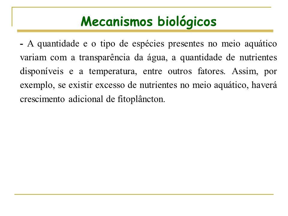 Mecanismos biológicos - A quantidade e o tipo de espécies presentes no meio aquático variam com a transparência da água, a quantidade de nutrientes di