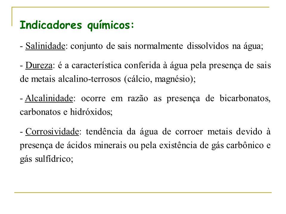 Indicadores químicos: - Salinidade: conjunto de sais normalmente dissolvidos na água; - Dureza: é a característica conferida à água pela presença de s