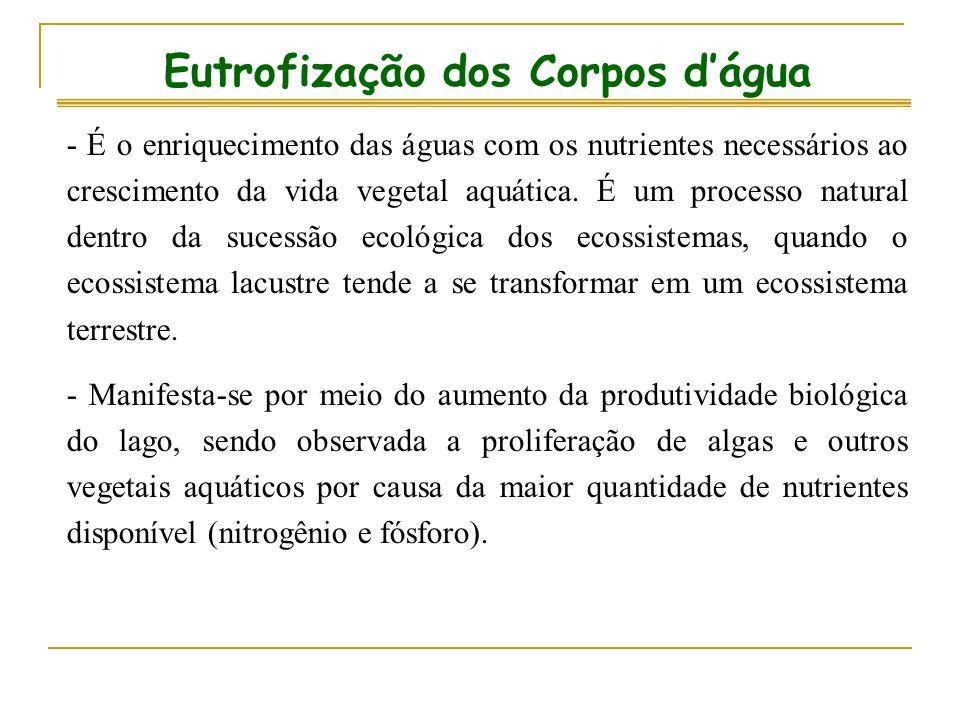 Eutrofização dos Corpos dágua - É o enriquecimento das águas com os nutrientes necessários ao crescimento da vida vegetal aquática. É um processo natu