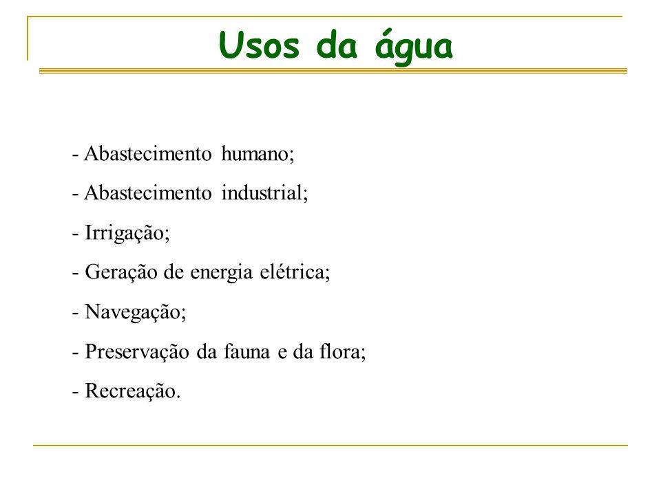 Usos da água - Abastecimento humano; - Abastecimento industrial; - Irrigação; - Geração de energia elétrica; - Navegação; - Preservação da fauna e da