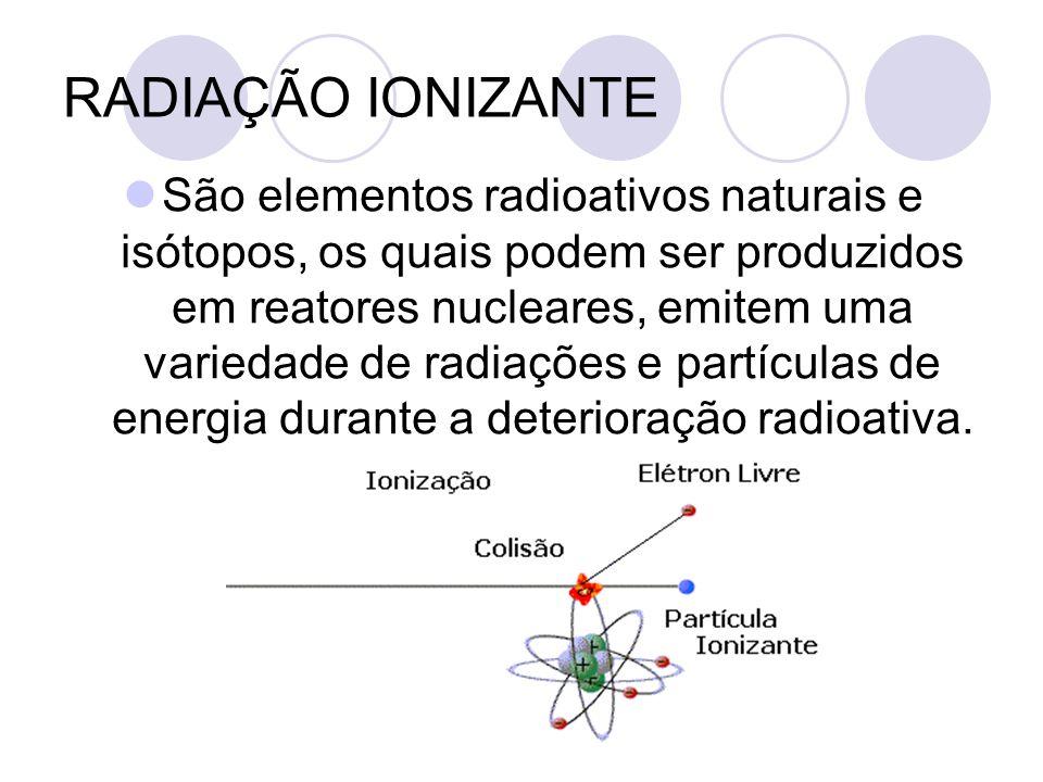 RADIAÇÃO IONIZANTE São elementos radioativos naturais e isótopos, os quais podem ser produzidos em reatores nucleares, emitem uma variedade de radiações e partículas de energia durante a deterioração radioativa.