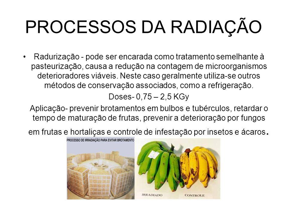 PROCESSOS DA RADIAÇÃO Radiciação- é o tratamento do alimento com uma dose de energia ionizante suficiente para reduzir o número de bactérias patogênicas viáveis e não produtoras de esporos, de forma que não sejam detectadas por métodos de análises bacteriológicas nos alimentos tratados.