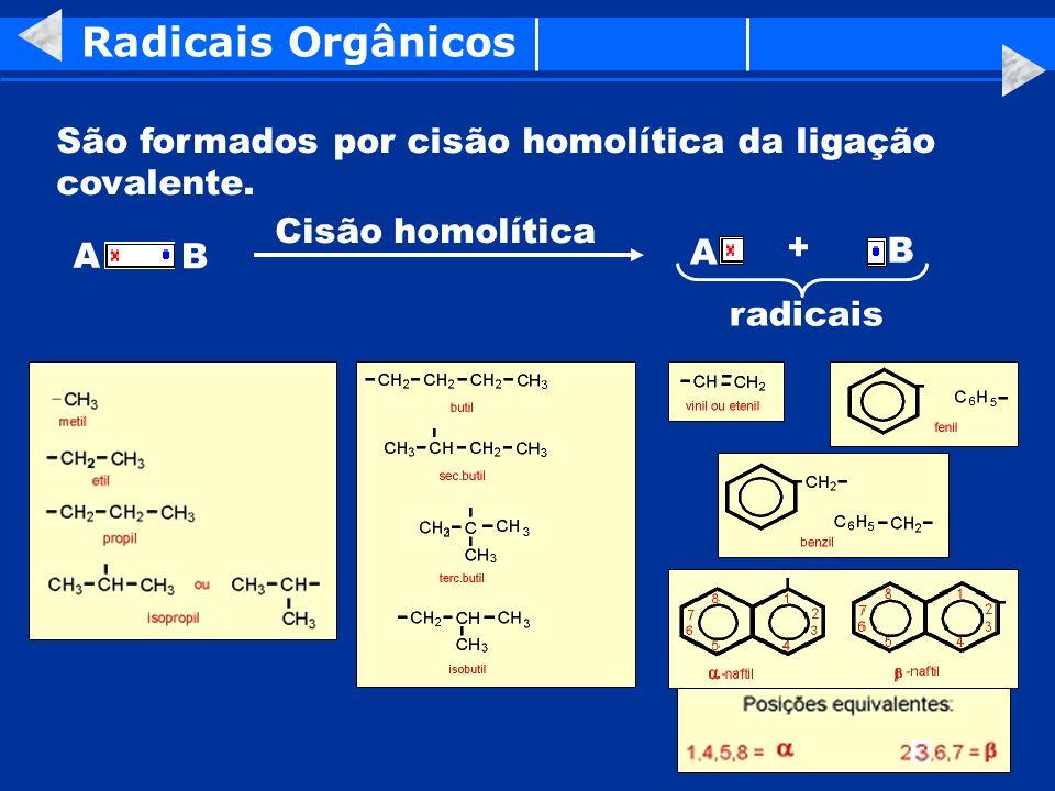 Radicais Orgânicos São formados por cisão homolítica da ligação covalente. A B Cisão homolítica A B + radicais