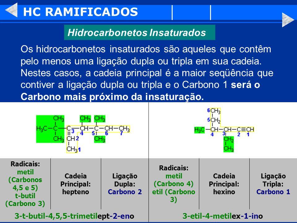 HC RAMIFICADOS Hidrocarbonetos Insaturados Os hidrocarbonetos insaturados são aqueles que contêm pelo menos uma ligação dupla ou tripla em sua cadeia.