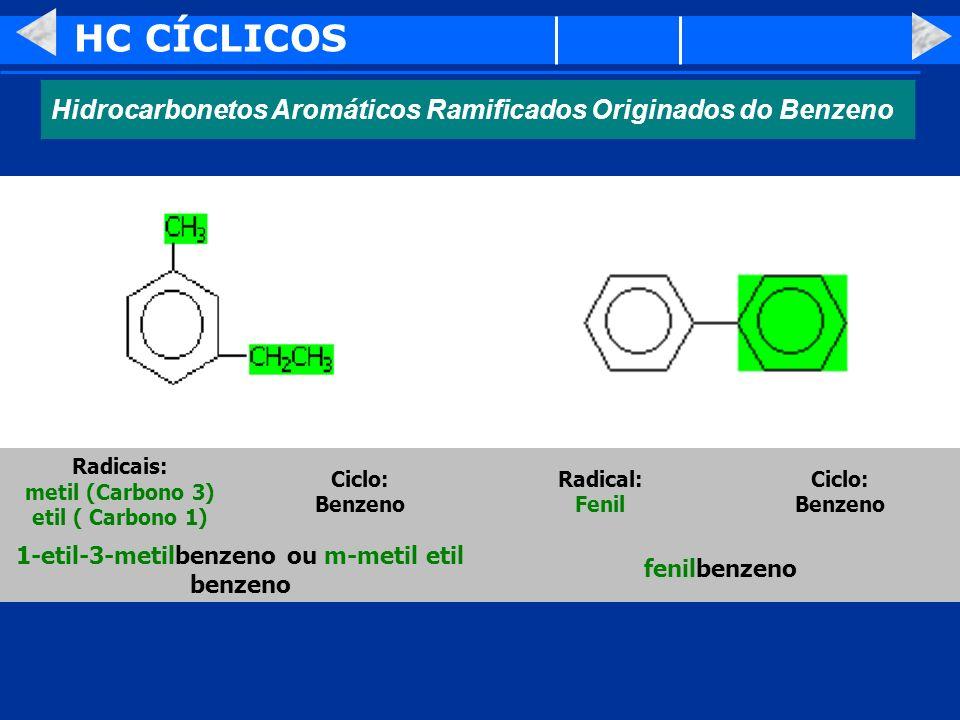 HC CÍCLICOS Hidrocarbonetos Aromáticos Ramificados Originados do Benzeno fenilbenzeno 1-etil-3-metilbenzeno ou m-metil etil benzeno Ciclo: Benzeno Rad
