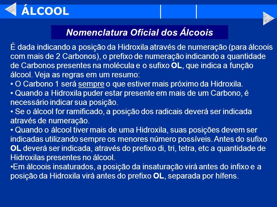ÁLCOOL Nomenclatura Oficial dos Álcoois É dada indicando a posição da Hidroxila através de numeração (para álcoois com mais de 2 Carbonos), o prefixo