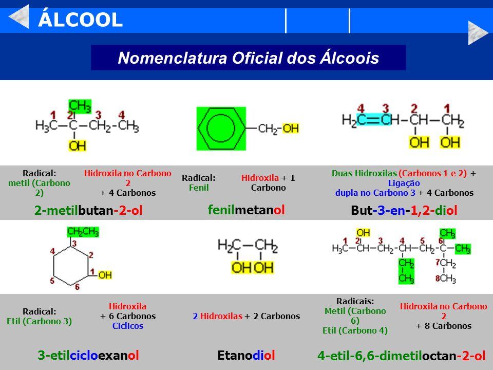 ÁLCOOL Nomenclatura Oficial dos Álcoois 4-etil-6,6-dimetiloctan-2-olEtanodiol3-etilcicloexanol Hidroxila no Carbono 2 + 8 Carbonos Radicais: Metil (Ca
