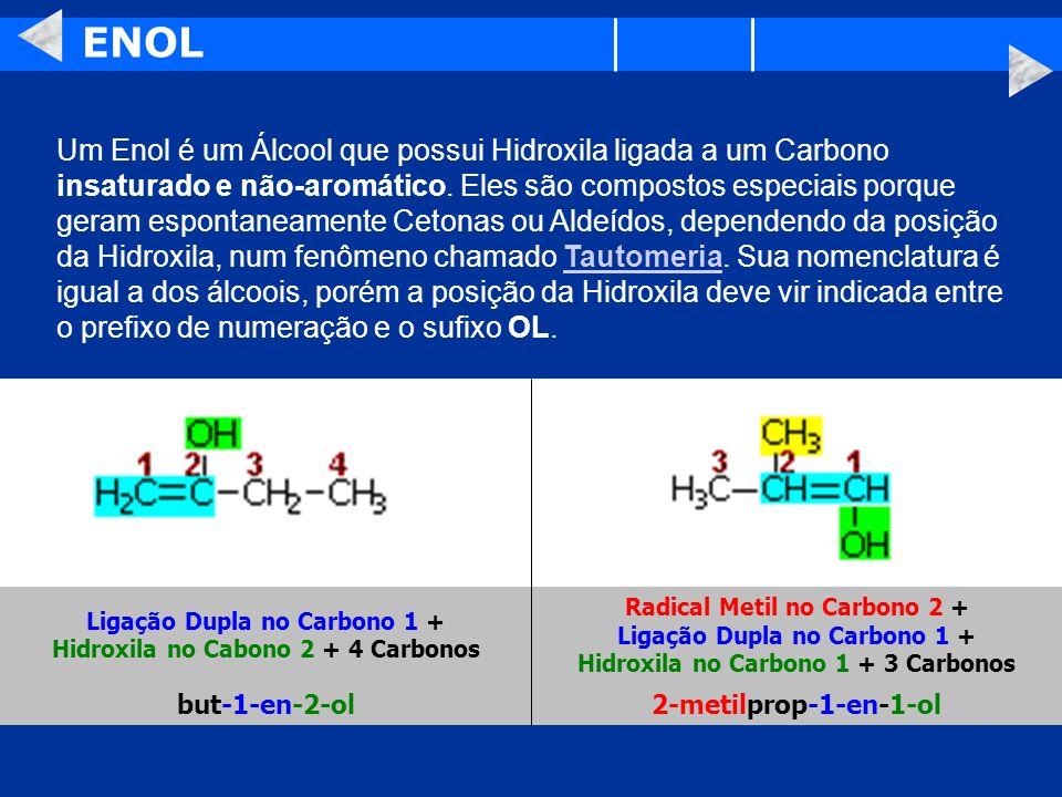 ENOL Um Enol é um Álcool que possui Hidroxila ligada a um Carbono insaturado e não-aromático. Eles são compostos especiais porque geram espontaneament