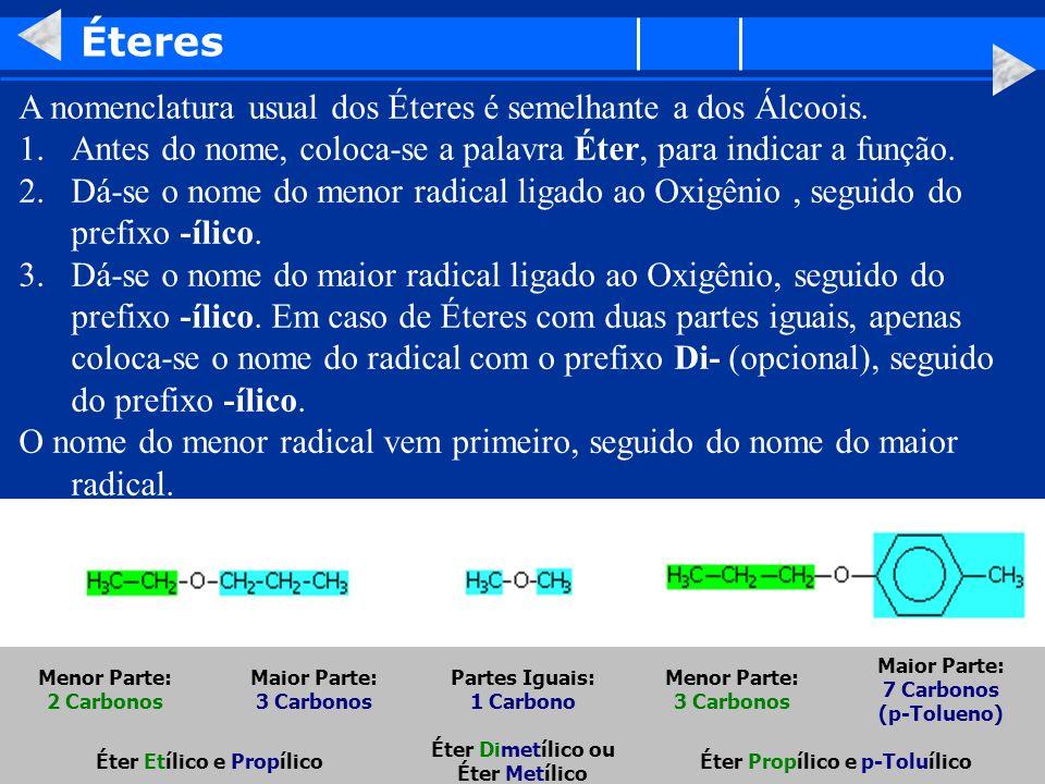 Éteres A nomenclatura usual dos Éteres é semelhante a dos Álcoois. 1.Antes do nome, coloca-se a palavra Éter, para indicar a função. 2.Dá-se o nome do