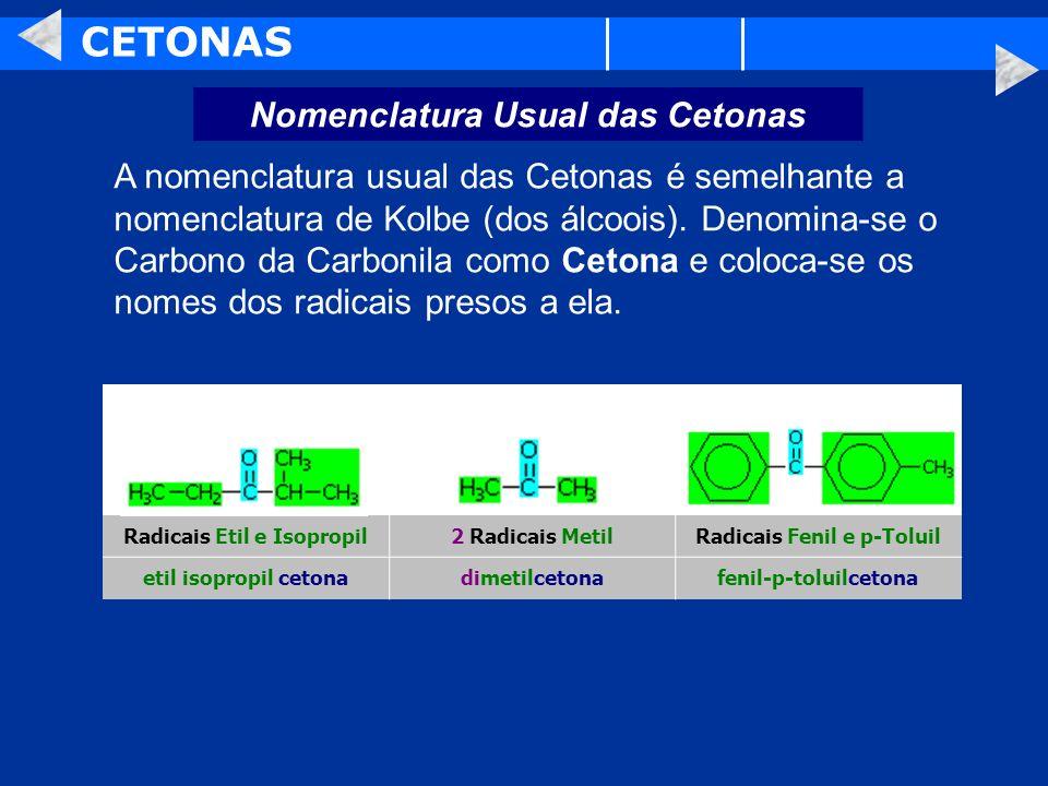 CETONAS Nomenclatura Usual das Cetonas A nomenclatura usual das Cetonas é semelhante a nomenclatura de Kolbe (dos álcoois). Denomina-se o Carbono da C