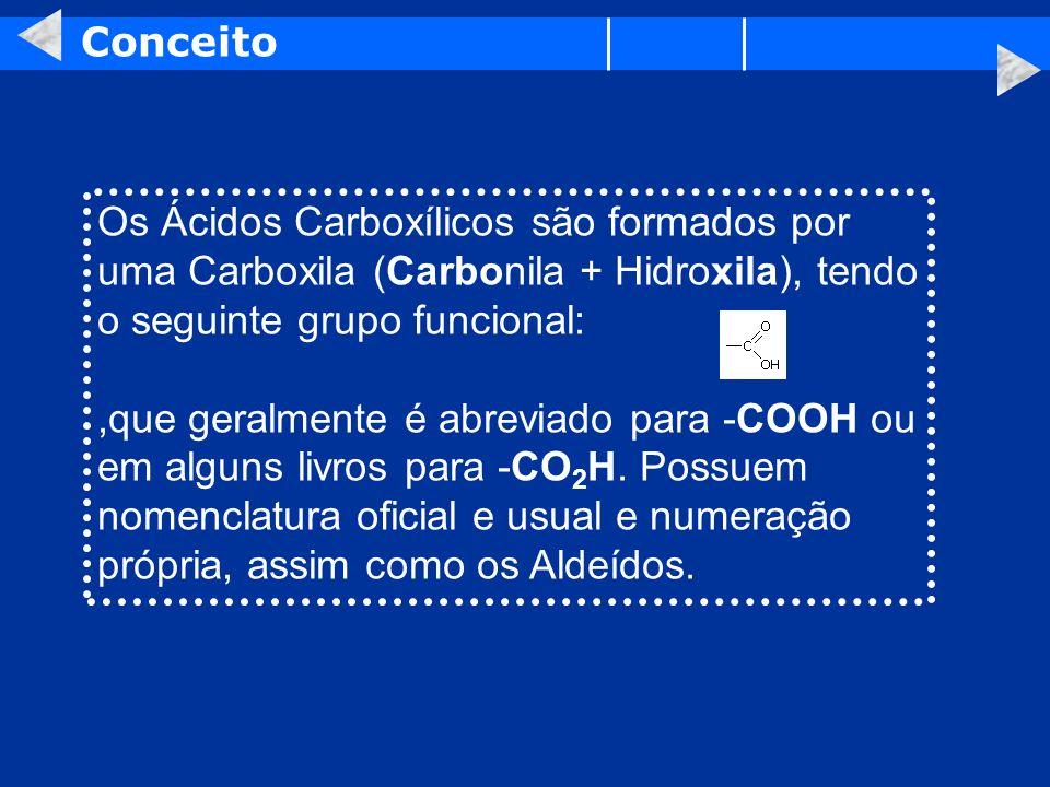 Conceito Os Ácidos Carboxílicos são formados por uma Carboxila (Carbonila + Hidroxila), tendo o seguinte grupo funcional:,que geralmente é abreviado p