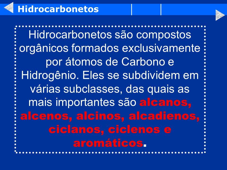 Hidrocarbonetos Hidrocarbonetos são compostos orgânicos formados exclusivamente por átomos de Carbono e Hidrogênio. Eles se subdividem em várias subcl