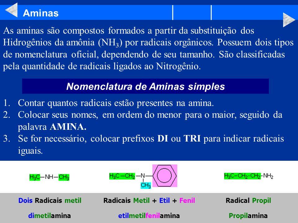 Aminas Nomenclatura de Aminas simples As aminas são compostos formados a partir da substituição dos Hidrogênios da amônia (NH 3 ) por radicais orgânic