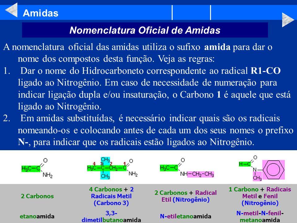Amidas A nomenclatura oficial das amidas utiliza o sufixo amida para dar o nome dos compostos desta função. Veja as regras: 1. Dar o nome do Hidrocarb