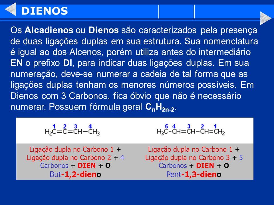 DIENOS Os Alcadienos ou Dienos são caracterizados pela presença de duas ligações duplas em sua estrutura. Sua nomenclatura é igual ao dos Alcenos, por