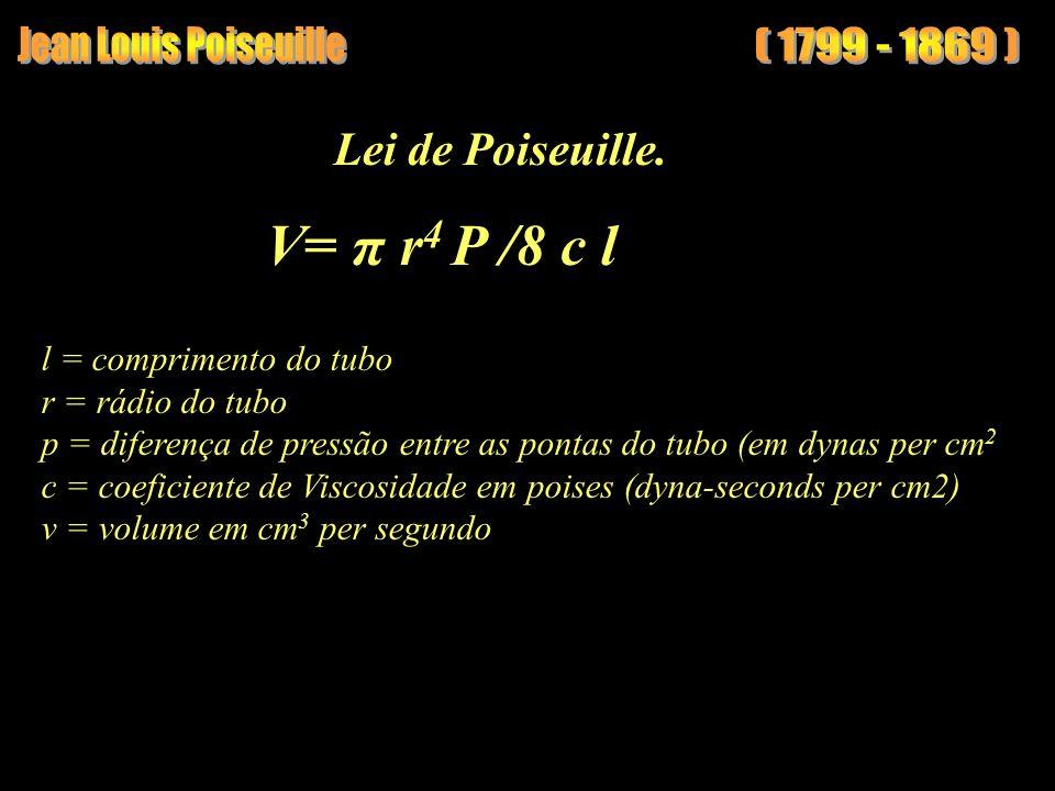 (1799 - 1869) Lei de Poiseuille. l = comprimento do tubo r = rádio do tubo p = diferença de pressão entre as pontas do tubo (em dynas per cm 2 c = coe