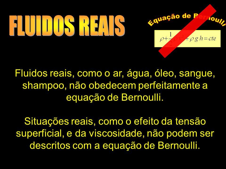 Fluidos reais, como o ar, água, óleo, sangue, shampoo, não obedecem perfeitamente a equação de Bernoulli. Situações reais, como o efeito da tensão sup