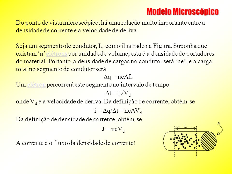 Do ponto de vista microscópico, há uma relação muito importante entre a densidade de corrente e a velocidade de deriva. Seja um segmento de condutor,