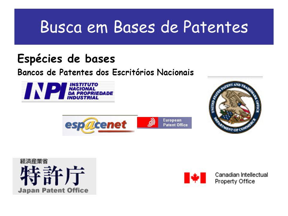 Espécies de bases Bancos de Patentes dos Escritórios Nacionais Busca em Bases de Patentes