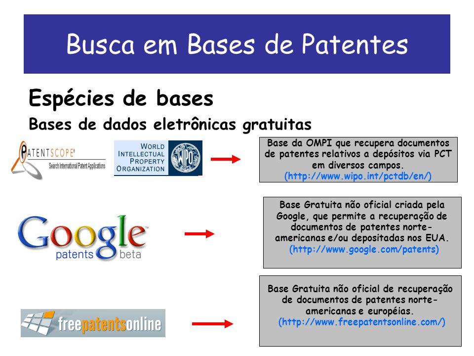 Busca em Bases de Patentes Espécies de bases Bases de dados eletrônicas gratuitas Base Gratuita não oficial de recuperação de documentos de patentes norte- americanas e européias.