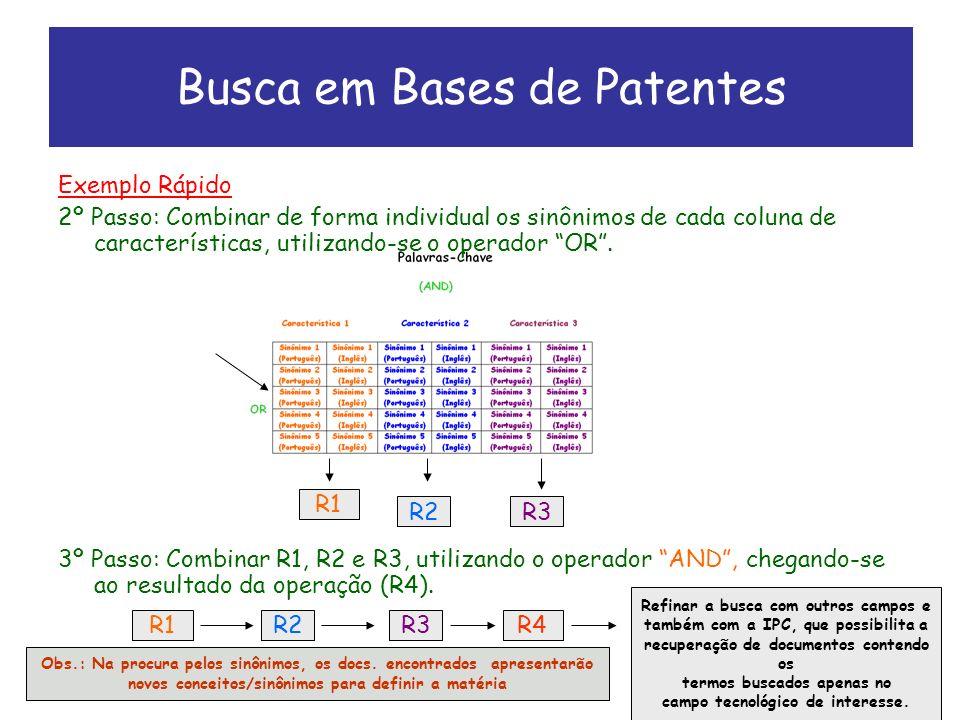Exemplo Rápido 2º Passo: Combinar de forma individual os sinônimos de cada coluna de características, utilizando-se o operador OR.