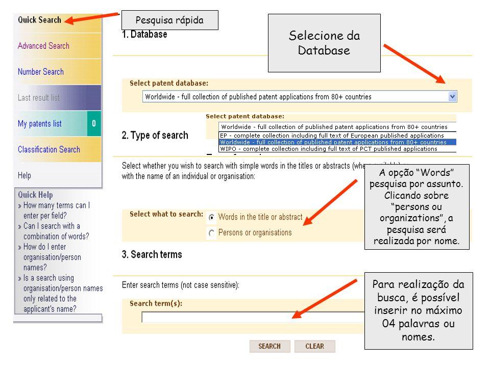 Pesquisa rápida Selecione da Database A opção Words pesquisa por assunto.