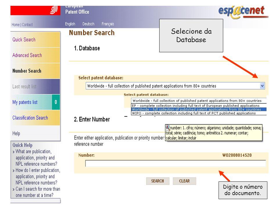 Selecione da Database Digite o número do documento.