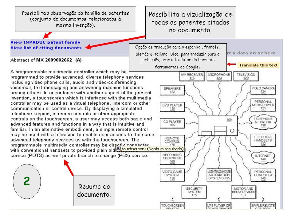 Possibilita a observação da família de patentes (conjunto de documentos relacionados à mesma invenção).