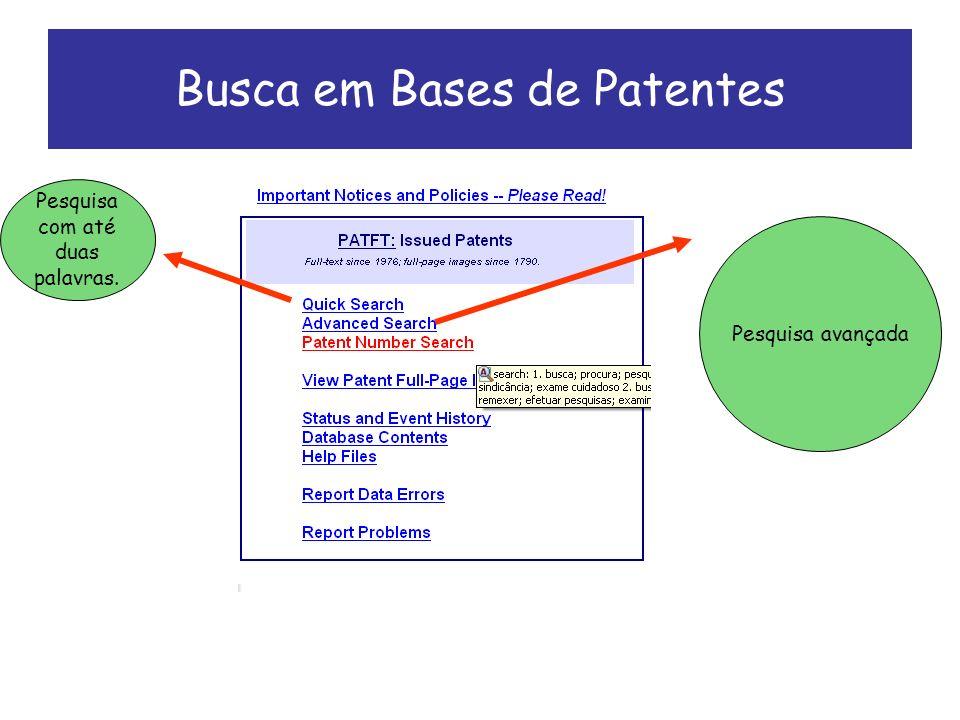 Busca em Bases de Patentes Pesquisa com até duas palavras. Pesquisa avançada