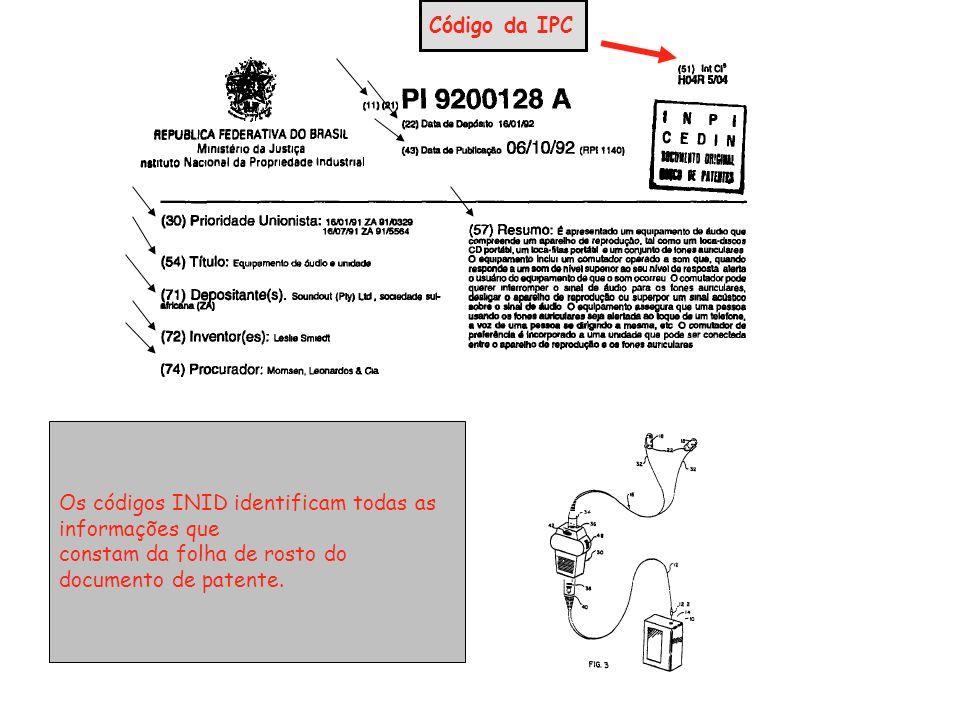 Os códigos INID identificam todas as informações que constam da folha de rosto do documento de patente.